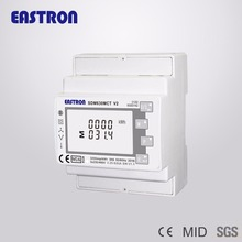 1A /5A CT connect three phase multi functional din rail energy meter , Smart Power meter, MID approved