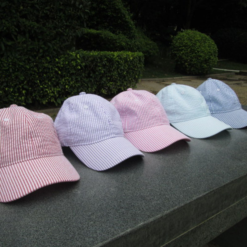 Wholesale Blanks Seersucker Stripe Printing Cap Cotton Baseball <strong>Hat</strong> With Adjust Buckle in the Back 5Colors DOM106036