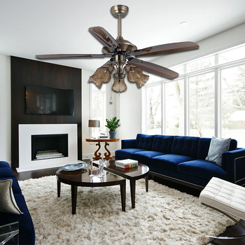 "China Manufacturer High Quality Decorative Classical European Style ABS 52"" 5 Blades Air Cooling Ceiling Fan with Light"