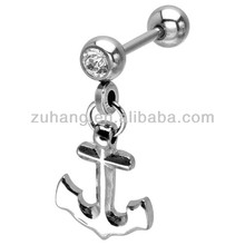 Tragus Piercing with Anchor Dangle Charm