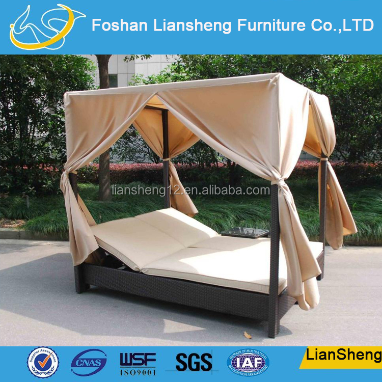 Aluminum Frame Rattan Wicker Outdoor Beach Day Beds For Adult