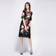A Lace 2016 Spring Summer New Fashion Runway Brand Flowers Embroidery Luxury Short Sleeve Knee-length Black Dress