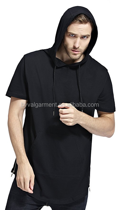 Mens Short Sleeve Hooded Shirt Preshrunk and Pill-Resistant long hem t-shirt Longline Cotton Street tshirt Wholesale