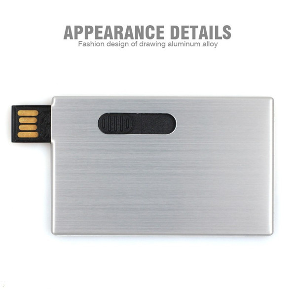 most thin high speed Push Button fashion design drawing aluminium alloy usb flash drive credit card