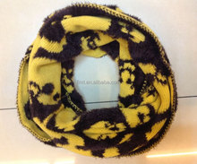 2014 yellow black fashion wool infinity scarf with fur
