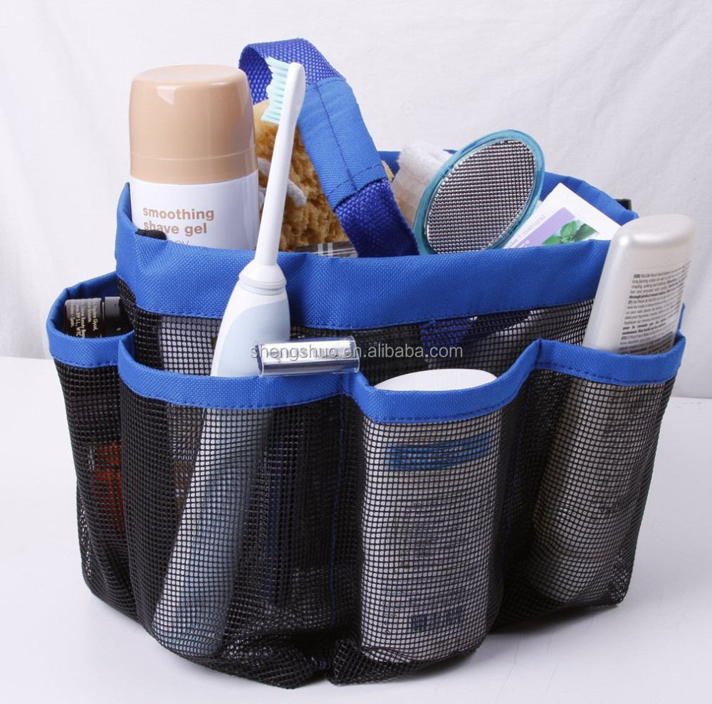 Mesh Shower Caddy 8 pockets hanging shower tote Bath Accessory Organizer
