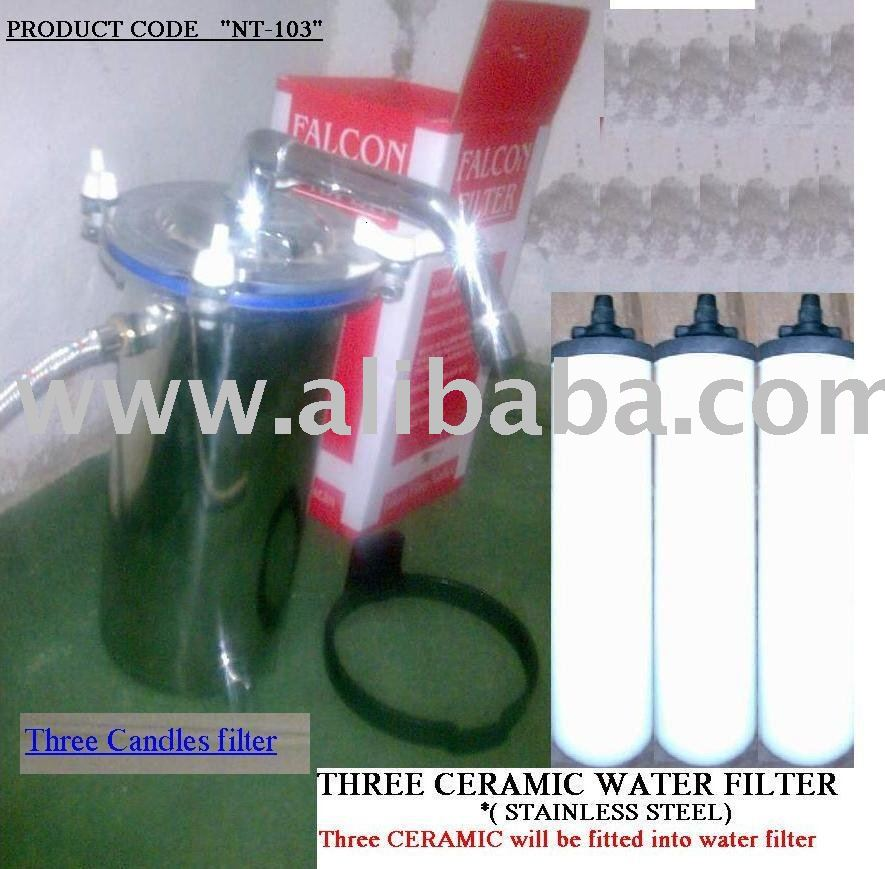 "STAINLESS STEEL WATER FILTER for Drinking Water. ""Non Magnet"" three candle use inside ""BIG SIZE"" (NT-103)"