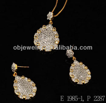Jewellery Necklace Pendant Gold Plated Jewelry Sets Crystals /Earrings And Necklace