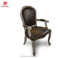High quality Upholstered wooden antique french chairs arms french chairs louis white arm chair wholesale