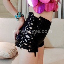 2016 Korean women black jeans sequins bind high waist shorts in summer tide trade stage dance costume