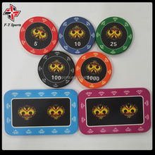 12g casino customized professional tournament ceramic chip 43mm round ceramic poker chips with UV printing