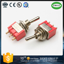 MTS-102 Red toggle switch 6A on on mini plastic toggle switch waterproof switch(FBELE)