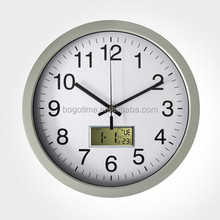 "12"" lcd digital metal wall clock with calendar/temperature/day date"