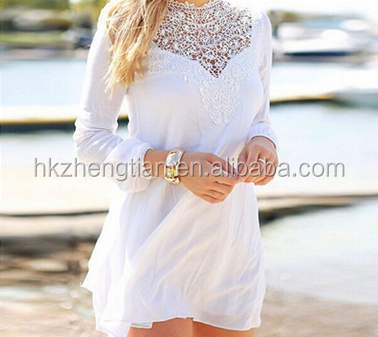 euramerican hot sale lace stiching long sleeve white women dresses beach summer chiffon latest dress designs fashion dress