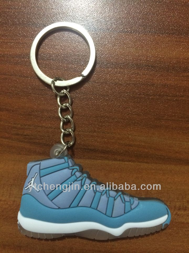 New color of soft pvc air jordan 11 keyrings for promotional gifts
