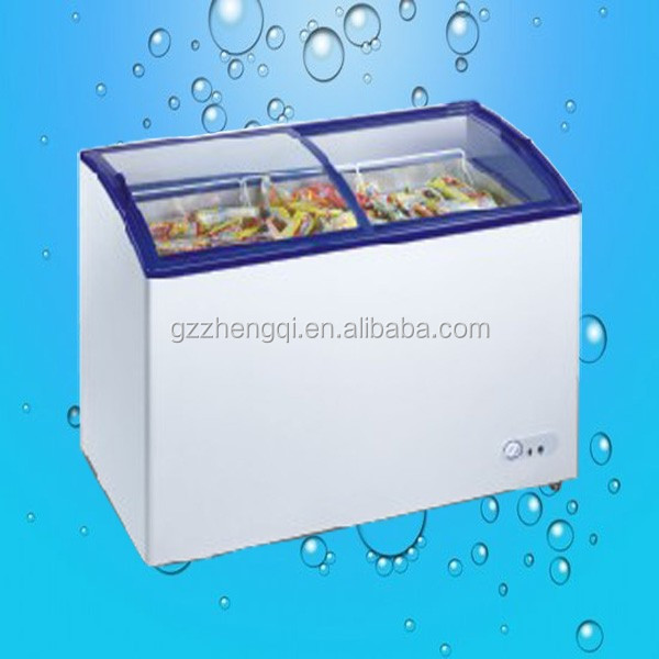 Hot Sale curved glass door chest freezer, outdoor commercial freezer, glass door refrigerator freezer(ZQR-288x)