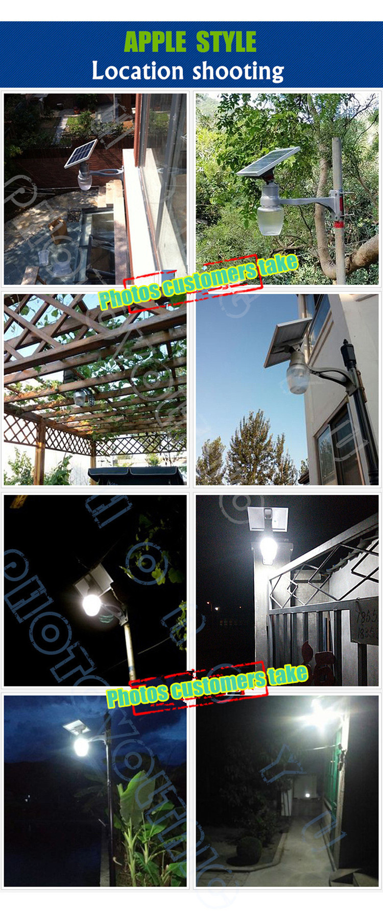 3 Year's warranty CE&Rohs certified 6W/9w/12W outdoor solar LED light for garden with moon/apple/peach shaped lampshade