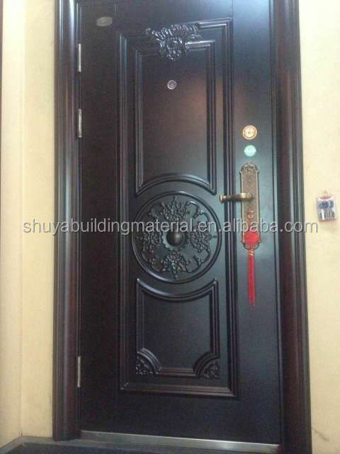Simple main door design white double entry wood door
