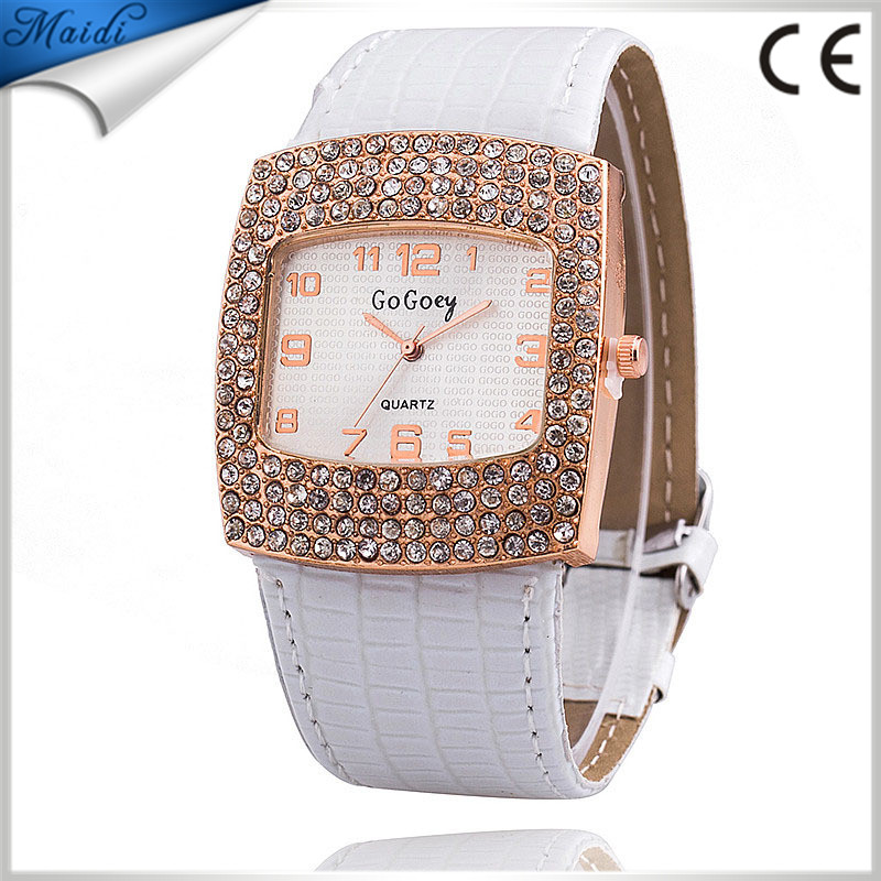 Alibaba Hot Women's Fashion Watch Quartz Leather Wristwatch Brand GoGoey Analog Crystal Rectangle Dial Rhinestone Watches LW020