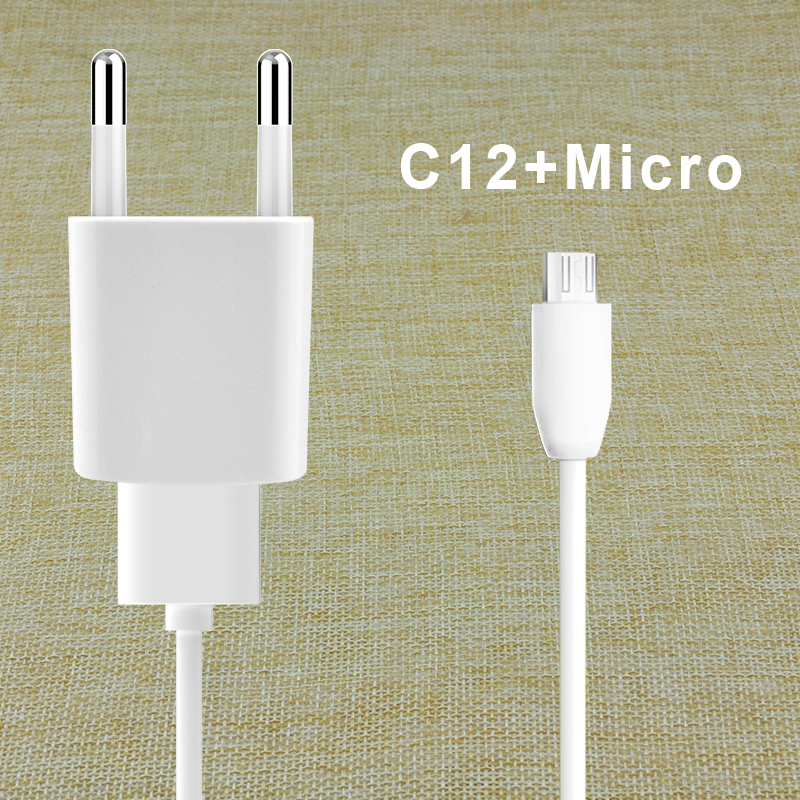 2017 Konfulon C12 EUR pin Travel Wall USB 1A Charger with cable private mould For IOS android phone accessories mobile