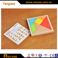 Educational Toys Rainbow Color Classic Tangram 7 Piece Square Wood Puzzle DIY Toys