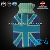 BS1970-2012 hot water bottle with knitted cover UK flag