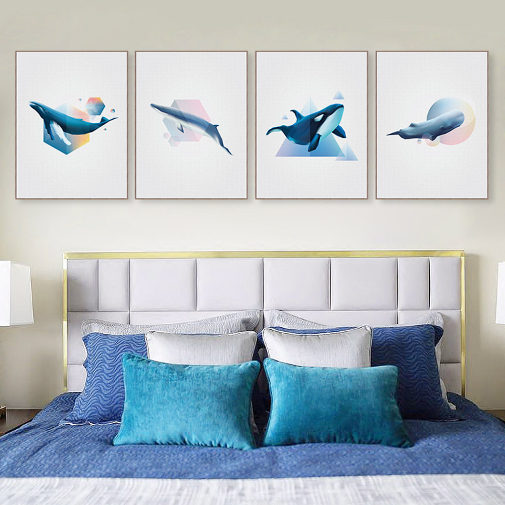 Abstract 3D Shape Whale Large Canvas Poster Print Wall Art Picture Paintings Modern Nordic Living Room Home Decor No Frame Gifts