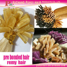wavy hair tape extensions ,pre bonded remy hair extension with keratin hair bonding glue