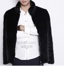 2016 european style winter Black men faux mink fur coat / 100%fake fur with high quality