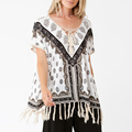 Boho Style Lace up Front Fringe at Hem Clothes Women Ladies Blouse
