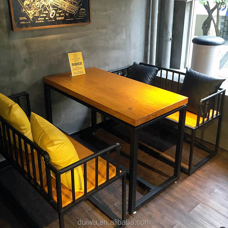 Foshan new fast food furniture design 4 person solid wood table for restaurant