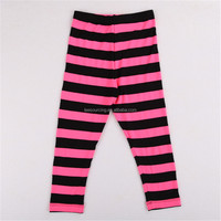 2016 Fashion 100% Cotton Baby Girls Wholesale Leggings Manufacturer Custom Panton Color Stripped Kids Tights Legging Pants