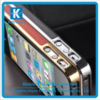 [kayoh] Luxury Cross Pattern PU Leather Case Metal Frame Edge Hard Protect Case For iphone 6
