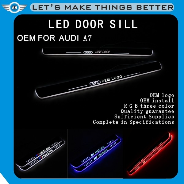 New Led Car Door Sill Plate R/G/B/W Led Moving Scuff Pedal Light Side Door Sill with Led light for audi a5 s5