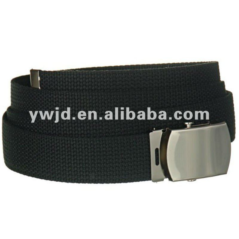 Black Canvas Military Web Belt With Silver Slider Buckle