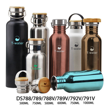 Custom logo FDA approved 304 stainless metal thermo bottle branding with bamboo cap