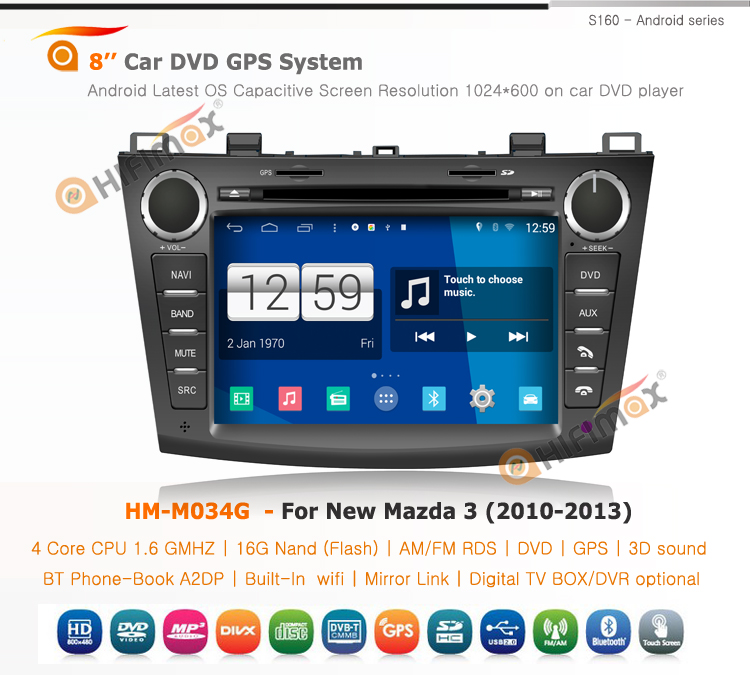 HIFIMAX Android 4.4.4 car radio dvd gps navigation for New Mazda 3 WITH Capacitive screen+HD1024*600 Resolution