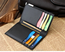 Leather card multiple pocket money bag wallet case with card holder