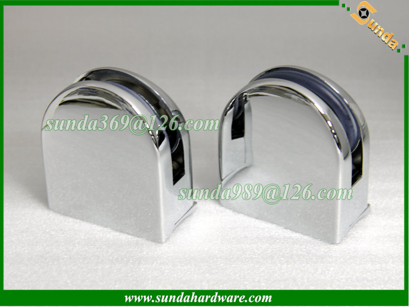 chrome glass mounting clamp with arc base