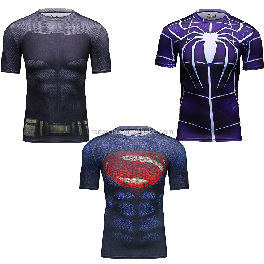 Wholesale Bodybuilding Compression 3D T Shirt Marvel Superman Sport Quick Dry Fitness Clothing Crossfit Gym Running Tops for Men