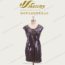Plus size new design with beaded bling knee-length summer mother dresses
