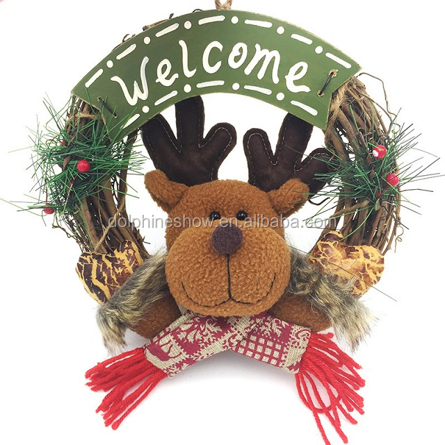 Best Selling Christmas Items Christmas Wreath Door Hanger With Christmas Doll Toy
