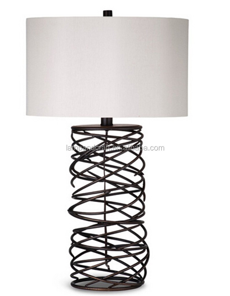 2017 new modern led high quality fashionable Table Lamp with crisp white drum shade and thin metal spiral base in bronze finish