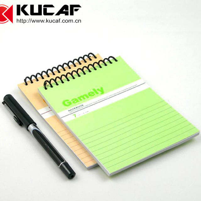 Cuatom small 300g art paper spiral hanging notepad with cord hanged around the neck