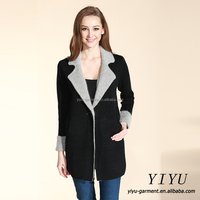 Elegant fashion block color tailored collar knitted wholesale winter women sweater coat