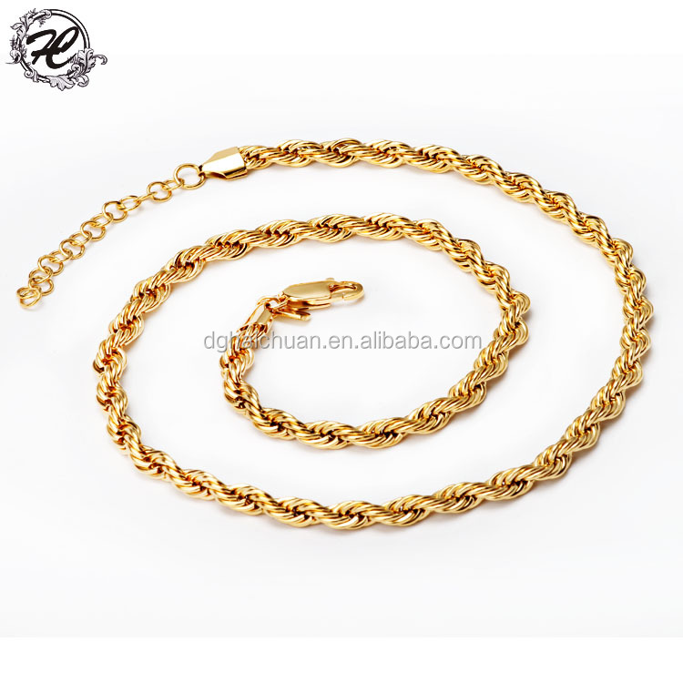Wholesale 14k gold plating 316 stainless steel 6mm rope chain for jewelry making