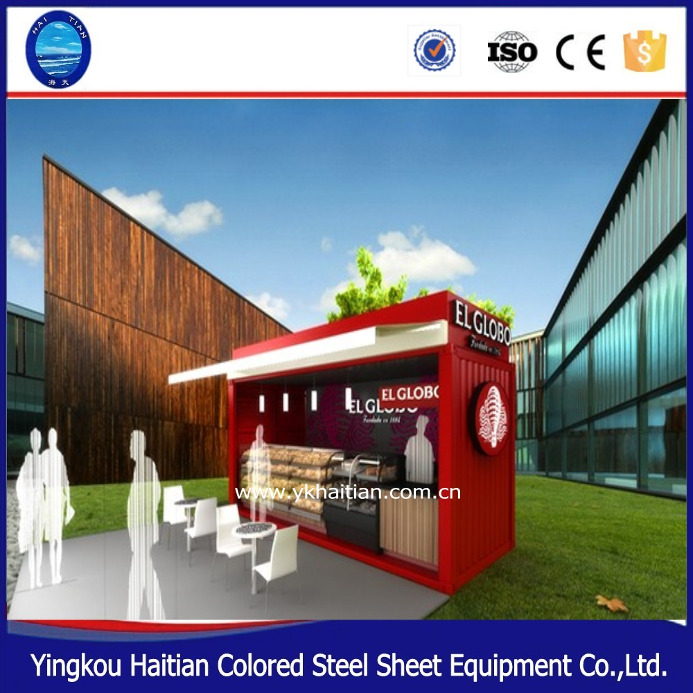 China Beautiful Design 40ft mobile foldable flatpack container house / coffee shop/ kitchen