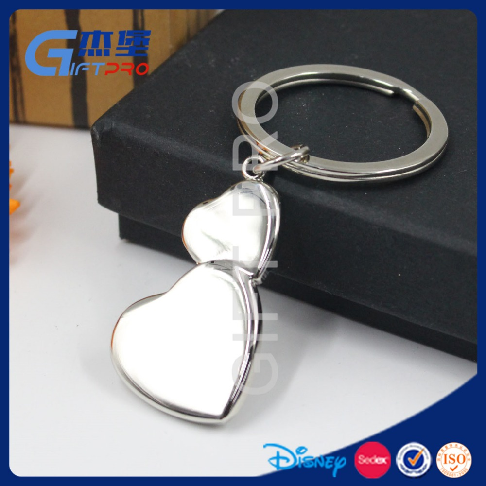 sweet heart link heart double heart keychain with custom name