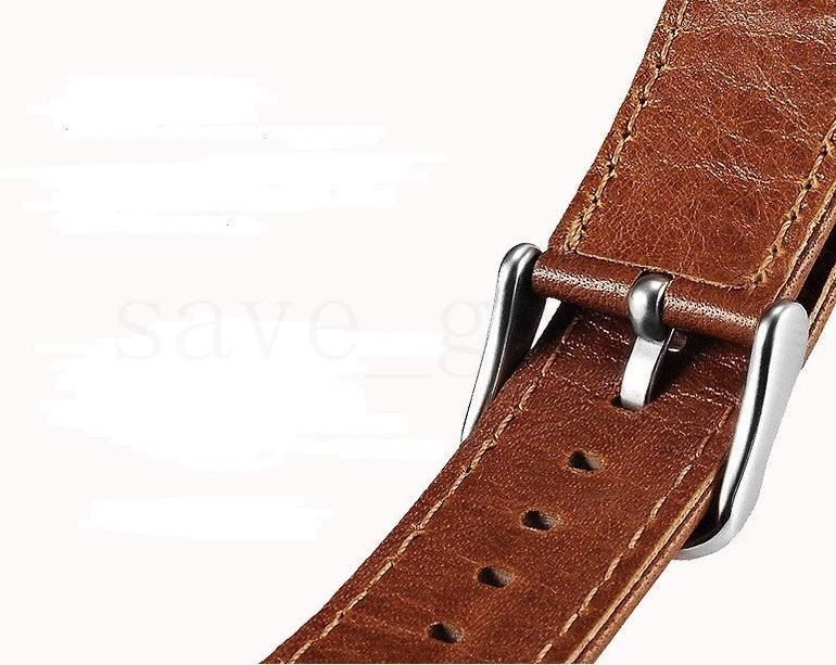 38mm 42mm Genuine Leather Strap Replacement watch Band with Stainless Metal Clasp for Apple Watch 1 2 3