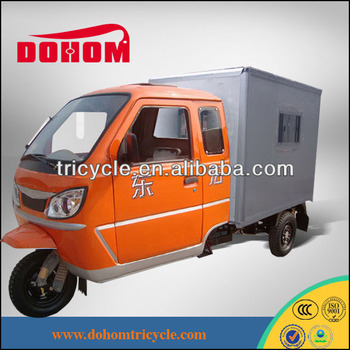 motor tricycle,/ tricycle motorcycle with closed cargo box and cabin doors